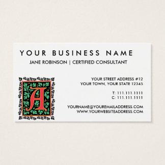 Medieval Red Letter R Monogram Business Card