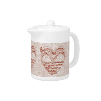 Medieval Red Music Heart on Pale Pink Damask Teapot