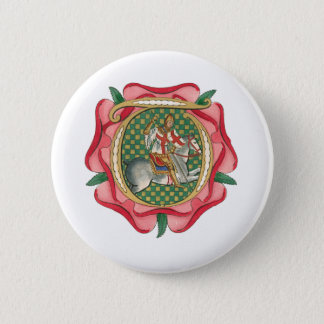 Medieval Red Rose Button