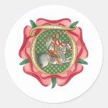 Medieval Red Rose Round Sticker