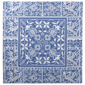 Medieval Renaissance Elegant Blue and White Cloth Napkin