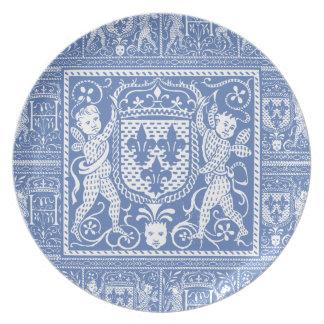 Medieval Renaissance Elegant Blue and White Dinner Plate