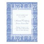 "Medieval Renaissance Elegant Blue and White 4.25"" X 5.5"" Invitation Card"