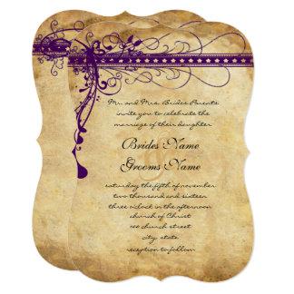 Medieval Renaissance Purple Faux Parchment Invitation