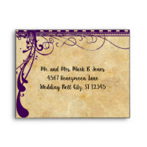 Medieval Renaissance Violet Purple Wedding RSVP Envelope