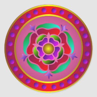 Medieval Rose Pattern Round Sticker