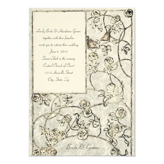 Medieval Roses Birds Cream Blue Wedding Invitation