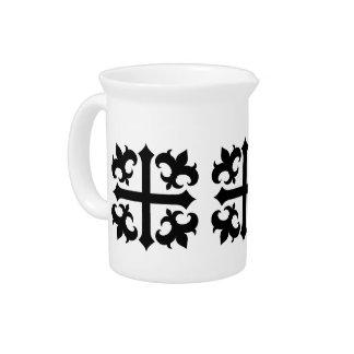 Medieval royal symbolic cross and fleur de lis drink pitcher