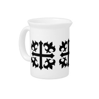 Medieval royal symbolic cross and fleur de lis pitchers