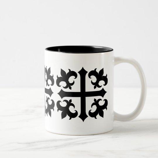 Medieval royal symbolic cross and fleur de lis Two-Tone coffee mug