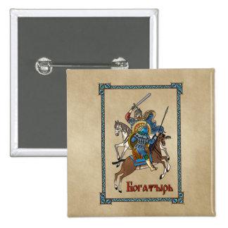 Medieval Russian Bogatyr 2 Inch Square Button