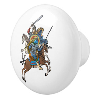 Medieval Russian Bogatyr Ceramic Knob