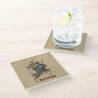 Medieval Russian Bogatyr Glass Coaster