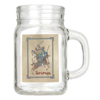 Medieval Russian Bogatyr Mason Jar