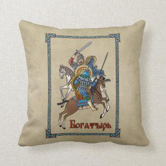 Medieval Russian Bogatyr Throw Pillow
