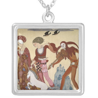 Medieval Scene by Georges Barbier Square Pendant Necklace