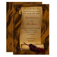 medieval scroll vintage invitation