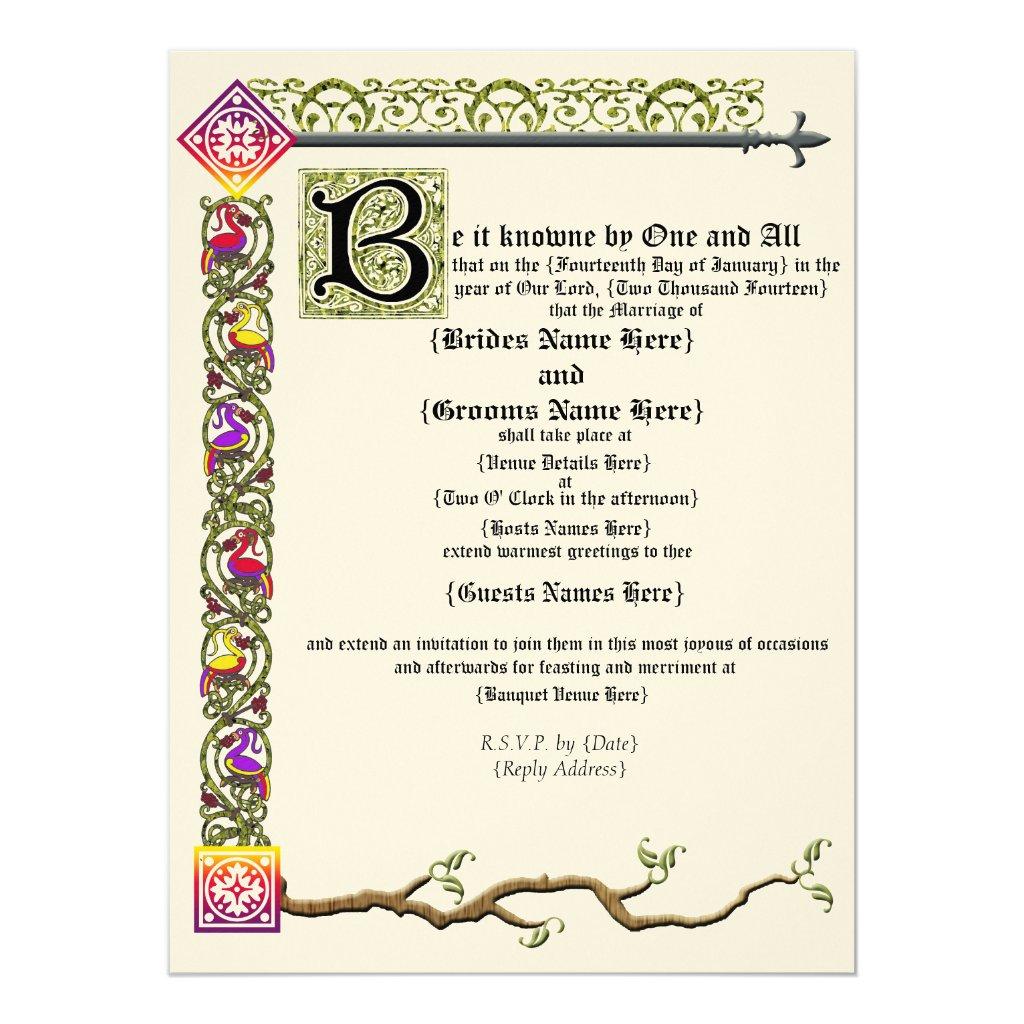 Medieval Scroll Wedding Invitation