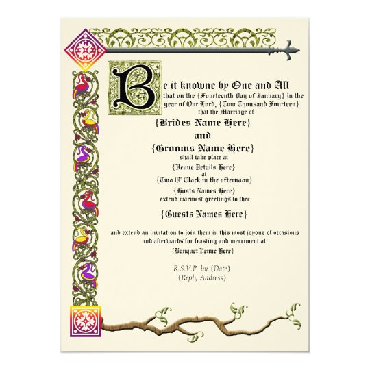 Medieval Scroll Wedding Invitation | Zazzle