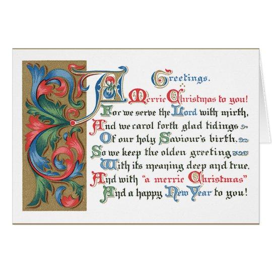 Medieval Scrolling Christmas Greetings Card