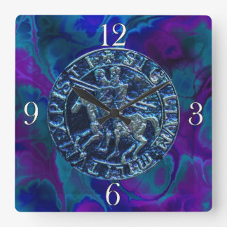 Medieval Seal of the Knights Templar Square Wallclock