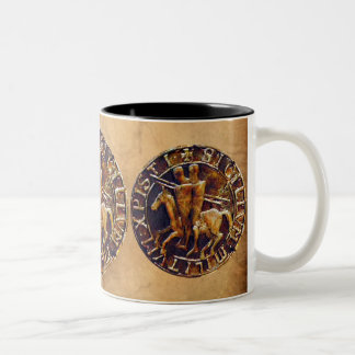 Medieval Seal of the Knights Templar Horses Two-Tone Coffee Mug