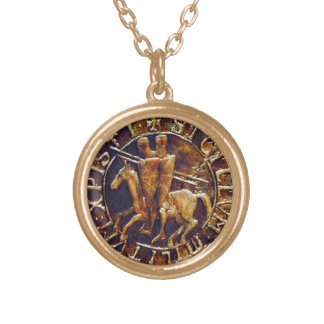 Medieval Seal of the Knights Templar Round Pendant Necklace
