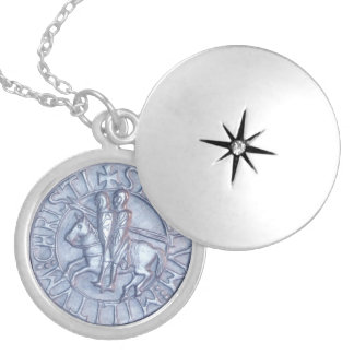 Medieval Seal of the Knights Templar Round Locket Necklace