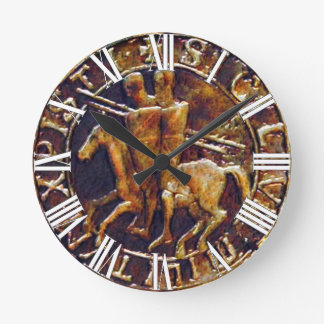 Medieval Seal of the Knights Templar Round Clock