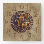 Medieval Seal of the Knights Templar Square Wall Clock