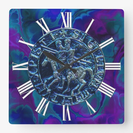 Medieval Seal of the Knights Templar Square Wall Clocks