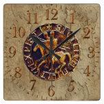 Medieval Seal of the Knights Templar Square Wallclocks
