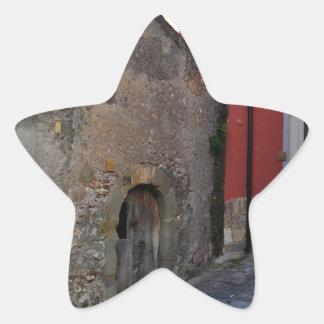 Medieval Sicilian mountain village Star Sticker