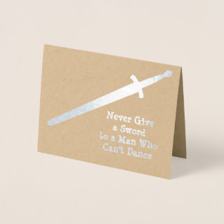 Medieval Silver Sword - Custom Quote - Male Themed Foil Card