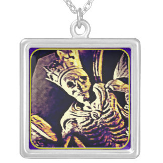 MEDIEVAL SKELETON KING WITH CROWN SILVER PLATED NECKLACE