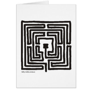 medieval small labyrinth square greeting card