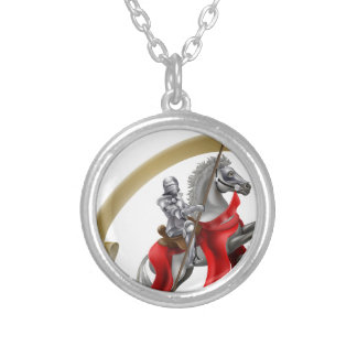 Medieval Spear Knight on Horse Round Pendant Necklace
