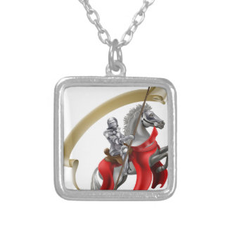Medieval Spear Knight on Horse Square Pendant Necklace