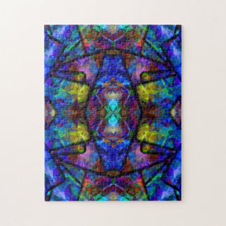 Medieval Stained Glass Digital Abstract Art Jigsaw Puzzle