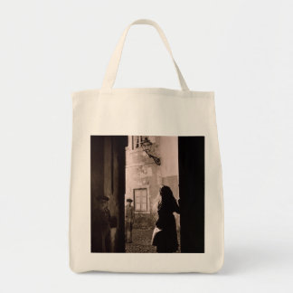MEDIEVAL STREET LISBON 1940's (Photo) Tote Bag Grocery Tote Bag