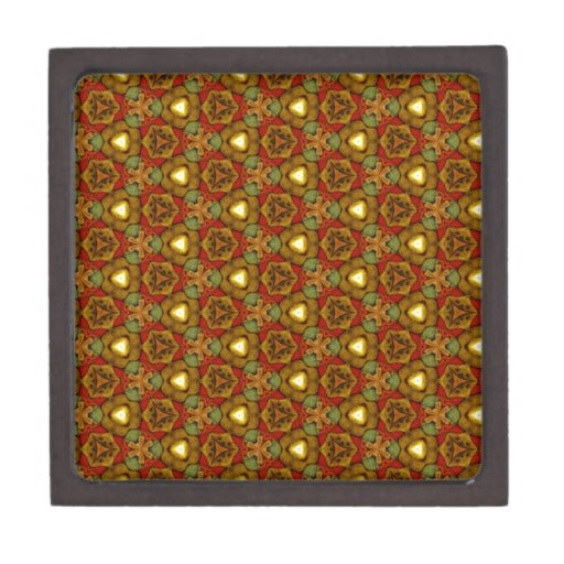 Medieval Style Design Art Deco Pattern Gold Floral Premium Jewelry Box