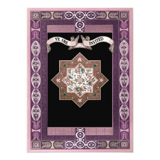 "Medieval Style Eastern Patterns Wedding Invites 5.5"" X 7.5"" Invitation Card"