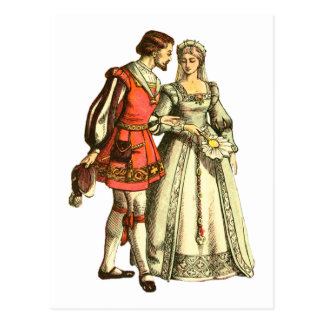 Medieval Style Illustration ~ Lord And Lady Postcard