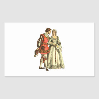 Medieval Style Illustration ~ Lord And Lady Rectangular Sticker