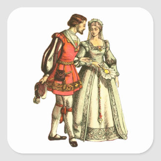 Medieval Style Illustration ~ Lord And Lady Square Sticker