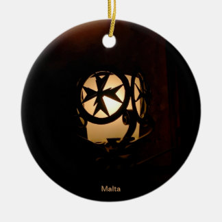 Medieval style lantern from Malta Double-Sided Ceramic Round Christmas Ornament