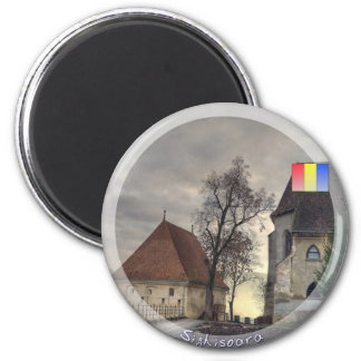 Medieval sunset 2 inch round magnet