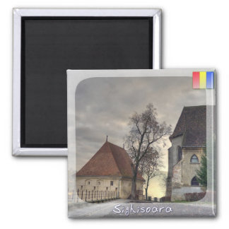 Medieval sunset 2 inch square magnet
