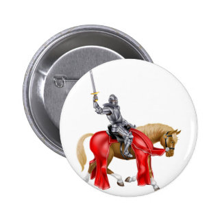 Medieval Sword Knight on Horse Pinback Button