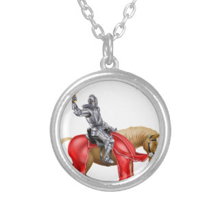 Medieval Sword Knight on Horse Round Pendant Necklace
